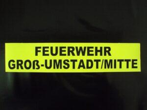 Rückenschild gelb matt FEUERWEHR+Ortsname