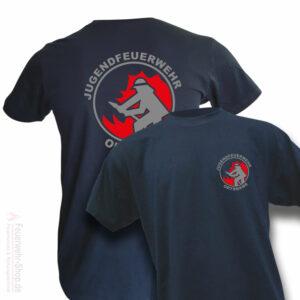 Jugendfeuerwehr Premium T-Shirt Firefighter I mit Ortsname