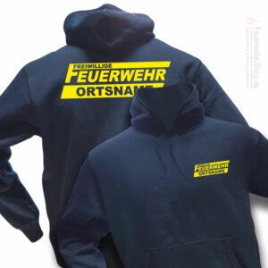 Feuerwehr Premium Kapuzen-Sweatshirt Freiwillige Feuerwehr Logo mit Ortsname