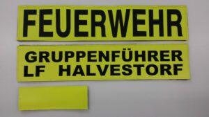 Beschriftungssatz für Funktionsweste gelb