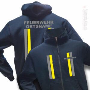 Feuerwehr Premium Kapuzen-Sweatjacke im Einsatzlook mit Ortsnamen