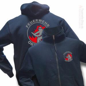 Feuerwehr Premium Kapuzen-Sweatjacke Firefighter I mit Ortsnamen
