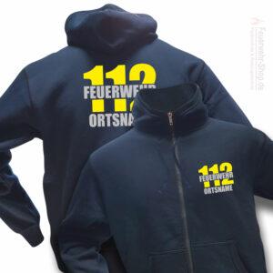 Feuerwehr Premium Kapuzen-Sweatjacke Firefighter II mit Ortsnamen