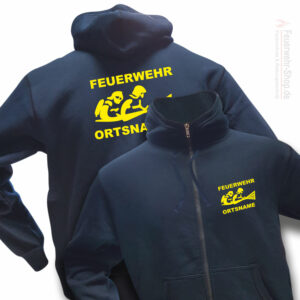 Feuerwehr Premium Kapuzen-Sweatjacke Firefighter III mit Ortsnamen