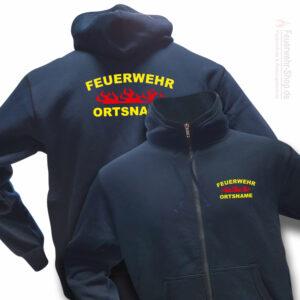 Feuerwehr Premium Kapuzen-Sweatjacke Rundlogo Flamme mit Ortsnamen