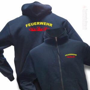Feuerwehr Premium Kapuzen-Sweatjacke Rundlogo Flamme