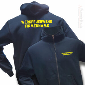 Feuerwehr Premium Kapuzen-Sweatjacke Werkfeuerwehr I mit Firmennamen