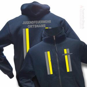 Jugendfeuerwehr Premium Kapuzen-Sweatjacke im Einsatzlook mit Ortsnamen