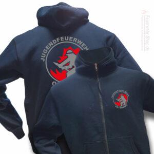 Jugendfeuerwehr Premium Kapuzen-Sweatjacke Firefighter I mit Ortsnamen