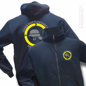 Jugendfeuerwehr Premium Kapuzen-Sweatjacke Helm mit Ortsnamen