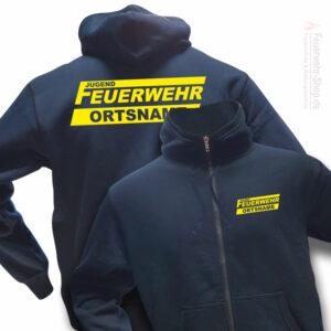 Jugendfeuerwehr Premium Kapuzen-Sweatjacke Logo mit Ortsname