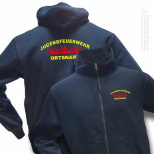 Jugendfeuerwehr Premium Kapuzen-Sweatjacke Rundlogo Flamme mit Ortsnamen