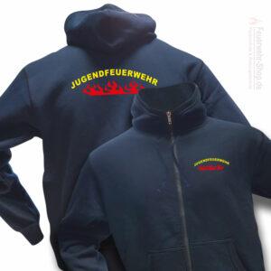 Jugendfeuerwehr Premium Kapuzen-Sweatjacke Rundlogo Flamme