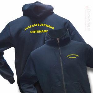 Jugendfeuerwehr Premium Kapuzen-Sweatjacke Rundlogo mit Ortsnamen