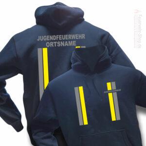 Jugendfeuerwehr Premium Kapuzen-Sweatshirt im Einsatzlook mit Ortsnamen