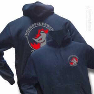 Jugendfeuerwehr Premium Kapuzen-Sweatshirt Firefighter I mit Ortsnamen