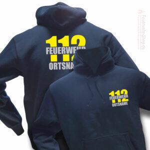 Feuerwehr Premium Kapuzen-Sweatshirt Firefighter II mit Ortsnamen