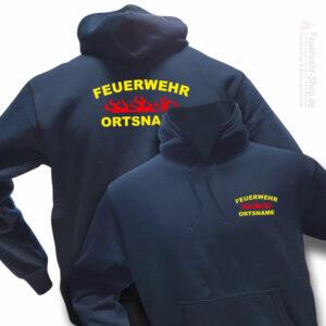 Feuerwehr Premium Kapuzen-Sweatshirt Rundlogo Flamme mit Ortsnamen