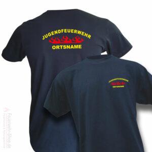 Jugendfeuerwehr Premium T-Shirt Rundlogo Flamme mit Ortsname