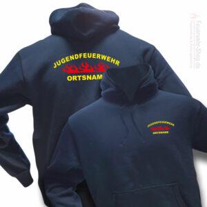 Jugendfeuerwehr Premium Kapuzen-Sweatshirt Rundlogo Flamme mit Ortsnamen