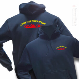 Jugendfeuerwehr Premium Kapuzen-Sweatshirt Rundlogo Flamme