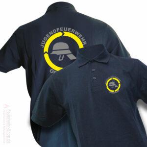 Jugendfeuerwehr Premium Poloshirt Helm mit Ortsnamen