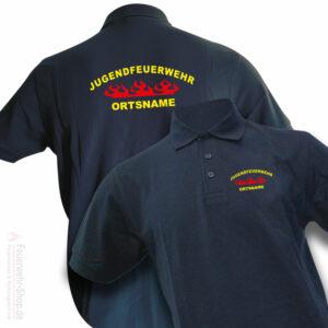 Jugendfeuerwehr Premium Poloshirt Rundlogo Flamme mit Ortsnamen