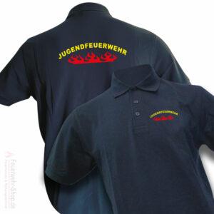 Jugendfeuerwehr Premium Poloshirt Rundlogo Flamme