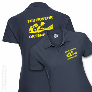 Feuerwehr Premium Damen Poloshirt Firefighter III mit Ortsname