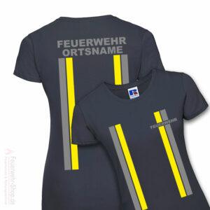 Feuerwehr Premium Damen T-Shirt im Einsatzlook mit Ortsname
