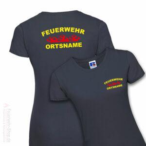 Feuerwehr Premium Damen T-Shirt Rundlogo Flamme mit Ortsname