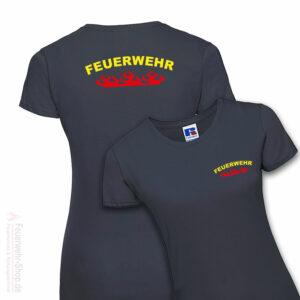Feuerwehr Premium Damen T-Shirt Rundlogo Flamme