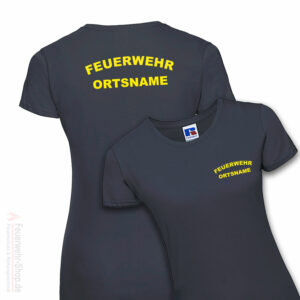 Feuerwehr Premium Damen T-Shirt Rundlogo mit Ortsname