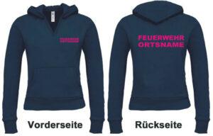 Feuerwehr Damen Kapuzen-Sweatshirt Modell Basis mit Ortsnamen hinten