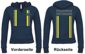 Feuerwehr Damen Kapuzen-Sweatshirt im Einsatzlook mit Ortsnamen