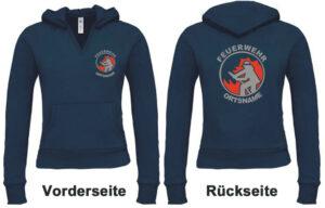 Feuerwehr Damen Kapuzen-Sweatshirt Modell Firefighter I mit Ortsnamen