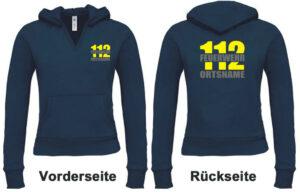 Feuerwehr Damen Kapuzen-Sweatshirt Modell Firefighter II mit Ortsnamen