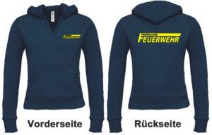 Feuerwehr Damen Kapuzen-Sweatshirt Freiwillige Feuerwehr Modell Logo