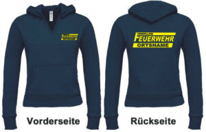 Feuerwehr Damen Kapuzen-Sweatshirt Freiwillige Feuerwehr Modell Logo mit Ortsnamen