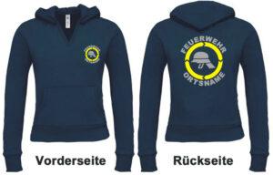 Feuerwehr Damen Kapuzen-Sweatshirt Modell Helm mit Ortsnamen