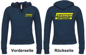Feuerwehr Damen Kapuzen-Sweatshirt Modell Logo mit Ortsname