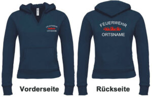 Feuerwehr Damen Kapuzen-Sweatshirt Rundlogo Flamme mit Ortsnamen