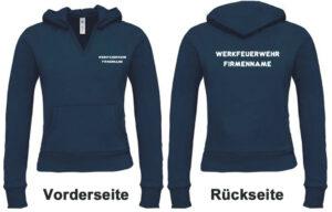 Feuerwehr Damen Kapuzen-Sweatshirt Werkfeuerwehr I mit Firmennamen