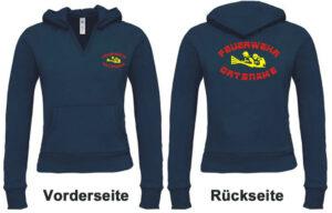 Feuerwehr Damen Kapuzen-Sweatshirt Modell firefighter IIII mit Ortsnamen