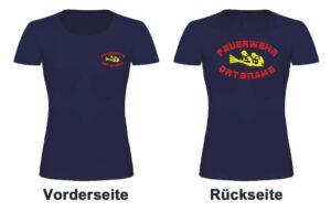 Feuerwehr Damen T-Shirt mit Motiv Firefighter IIII mit Ortsnamen