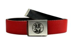 Gürtel aus Feuerwehrschlauch mit Feuerwehr-Signet (rot)