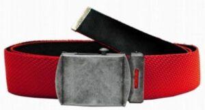 Gürtel aus Feuerwehrschlauch mit Metallkoppelschließe in altsilber (rot)