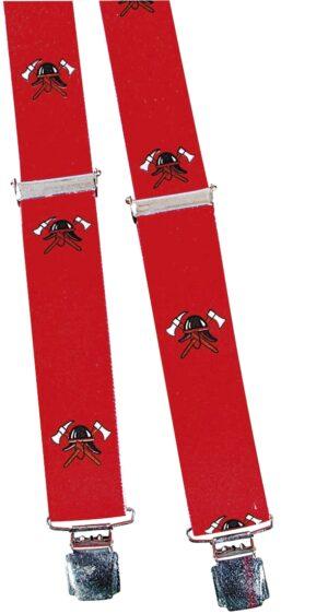 Hosenträger mit Print - Feuerwehr Helm Abzeichen - rot