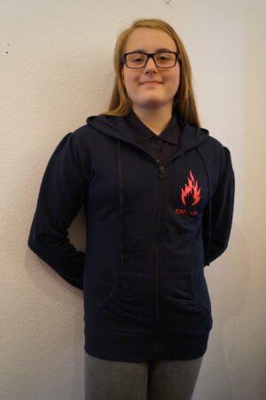 Feuerwehr Premium Damen Kapuzen-Sweatjacke Firelady