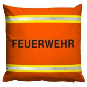 Kissen Feuerwehr im Einsatzlook (orange mit reflektierenden Streifen)-0